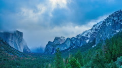 Time Lapse - Cloudy Evening at Yosemite National Park Stock Footage