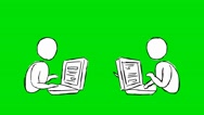 Sending emails - Animation - Hand-Drawn - Green Screen - Loop Stock Footage