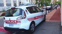 Monaco Police Car Parked On The Street Rear View Stock Footage