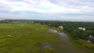 4k Aerial of Wet Grass Lands in Charleston South Carolina Stock Footage