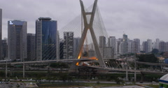 4K Ponte Estaiada Bridge Built Over The Pinheiros River. Sao Paulo City, Brazil. Stock Footage