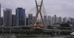 4K Ponte Estaiada Bridge Built Over The Pinheiros River. Sao Paulo City, Brazil. Stock Footage