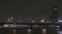 Waterloo Bridge London at night Stock Footage