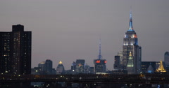 Empire State Building and NYC Skyline at sunrise - 4k Stock Footage