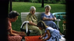 1957: spending family time outdoor HICKSVILLE, NEW YORK Stock Footage