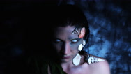 4k Halloween Shot of a Horror Woman Mermaid Posing Nude with White Eyes Stock Footage