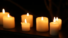 Darkness, candles, skull of gypsum Stock Footage
