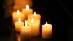 Through candles to skull Stock Footage