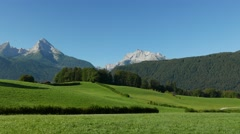 4K The Alps Mount Watzmann in idyllic landscape Berchtesgaden National Park Stock Footage