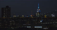 Empire State Building at night, New York City Stock Footage