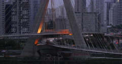 4K Ponte Estaiada Bridge. Sao Paulo City, Brazil. Traffic in a rainy day. Stock Footage