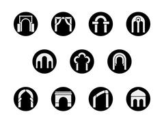 Frame arch shapes round black vector icons set Stock Illustration