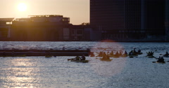 Kayaking in New York City at sunset - 4k Stock Footage