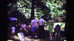 1971: family reunion outdoors OMAHA, NEBRASKA Stock Footage