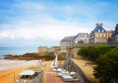 Saint-Malo old city over atlantic coast ,  France Kuvituskuvat