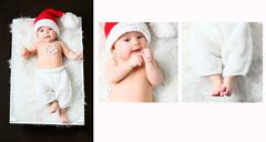 A collage of a christmas baby lying on a fluffy white blanket wearing a red tail Stock Photos