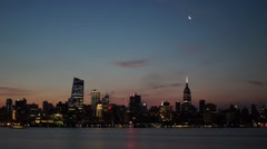 Crescent Moon Rise & Sunrise over Manhattan and the Empire State Buidling Stock Footage