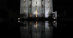 LDS Temple night Church Utah reflection pool DCI 4K Stock Footage