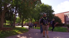 Beautiful college campus on windy autumn day Stock Footage