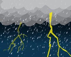 Heavy rain and lightening in dark sky Piirros