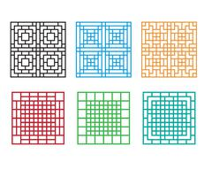 Korean ornament for door, window, wall and fence Stock Illustration