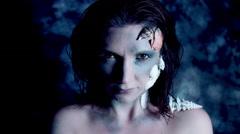 4k Halloween Shot of a Horror Woman Mermaid Turning at Camera Stock Footage