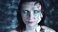 4k Halloween Shot of a Horror Woman Mermaid Opening Whiteout Eyes Stock Footage