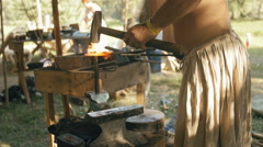 Blacksmith Forges Metal Stock Footage
