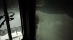 Snowcat is moving down the hill. Stock Footage