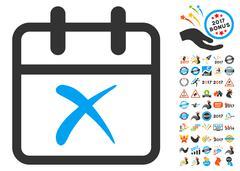 Cancel Day Flat Icon with 2017 Year Bonus Stock Illustration