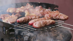 Barbeque on coal, kebab and meat stakes Stock Footage