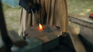 Blacksmith Forges Metal. Slow-mo Stock Footage