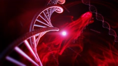 Animation of Genetic DNA Strand with red background Stock Footage