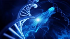 Animation of Genetic DNA Strand with blue background Stock Footage