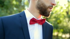 Bearded man with bowtie and a suit on walks in the park macro Stock Footage