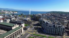 4K Aerial footage of Geneva city water fountain in Switzerland -UHD Stock Footage
