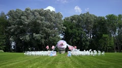 Wedding decor in the form of a huge flying ball. General plan of the site. In Stock Footage