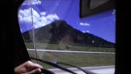 1974: driving nirvana down the highway on scenic roads clouds and sunshine  Stock Footage