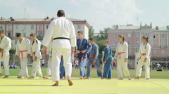 Judo coach had instructed his young students Stock Footage