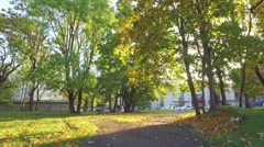 Slow motion footage of Beautiful background of a golden autumn city landscape. Stock Footage