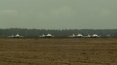 Group of jet-fighters take off airstrip Stock Footage