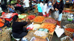 Bali, Indonesia - Fresh fruit and vegetable stall  Stock Footage