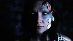 4k Halloween Shot of a Horror Woman Mermaid Looking with White Eyes Stock Footage