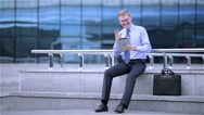 Businessman having a video chat on digital tablet computer touchscreen Stock Footage