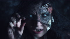 4k Halloween Shot of a Horror Woman Mermaid Grinning with Fishing Net Stock Footage