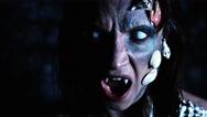 4k Halloween Shot of a Horror Woman Mermaid Shouting with Vampire Teeth Stock Footage