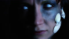 4k Halloween Shot of a Horror Woman Mermaid Close-up with Whiteout eyes Stock Footage