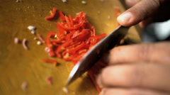 Asian chef preparing Basa gede chopping healthy raw vegetables on wooden cutting Stock Footage