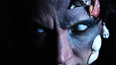 4k Halloween Shot of a Horror Woman Mermaid Opening Eyes and Grinning Stock Footage