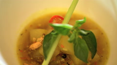 Balinese vegetarian low calorie lunch dish of healthy nutritious Papaya Soup  Stock Footage